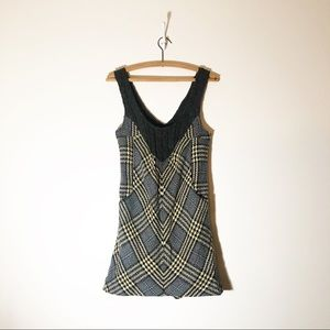 FREE PEOPLE 4 tank knit dress yellow black plaid